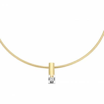 14 krt briljant hanger bicolor bezet met 0.10 crt diamant - excl. collier