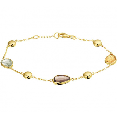 Foto van Gouden armband met rookkwarts, citrien en amethyst 17,5 - 19cm