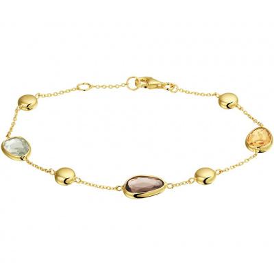Gouden armband met rookkwarts, citrien en amethyst 17,5 - 19cm