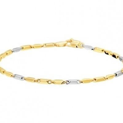 Foto van Bicolor wit- en geelgouden armband 42.08154