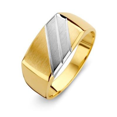 Gouden bicolor herenring RF401126