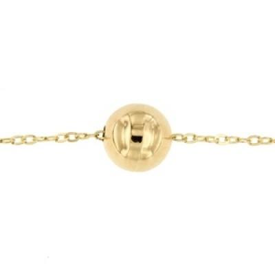 Geelgouden collier bal 6mm 42-45 cm geslepen anker VIZ6021