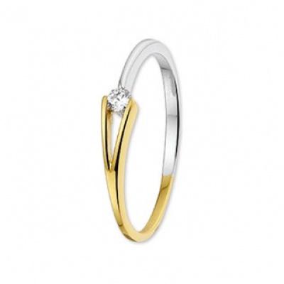 Bicolor gouden ring met zirkonia 42.06119