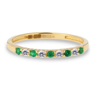 Geelgouden ring met transparant en groen zirkonia RDC01-4384-03