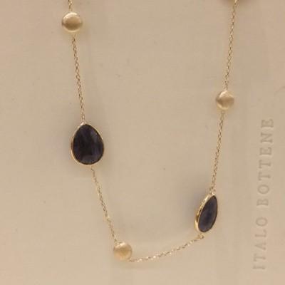 Italo Bottene gouden blue quartzcollier 42+3 cm CO4174-45-14