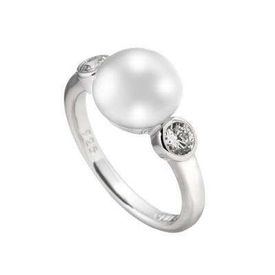 Foto van Diamonfire 814.0127 zilveren ring met platte parel en zirkonia