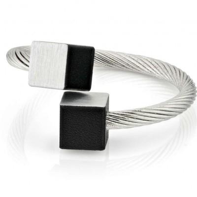 Ring mat/zwart 'one size fits most' twee 6 mm vierkante blokjes