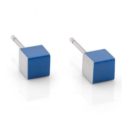 Oorsteker blauw - mini kubus (5 mm)