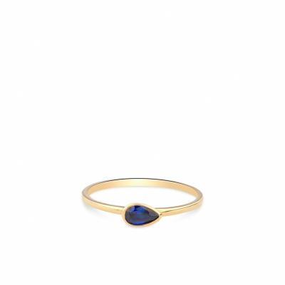 Geelgouden ring met druppel zirkonia in blauw RDC01-4323-03