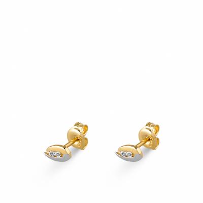 Foto van Bicolor gouden oorknoppen met zirkonia EDE01-3356