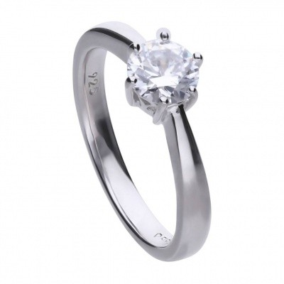 Foto van DIAMONFIRE ZILVEREN SOLITAIRE RING 814.0033 - 1.00 CT - CHATONZETTING