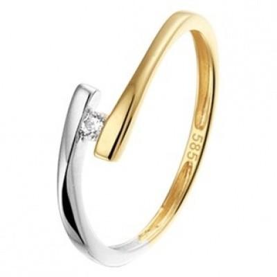 Foto van Bicolor gouden ring met zirkonia 42.06522