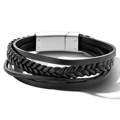 Foto van Armband leer zwart 12 mm 22 cm
