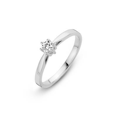 Foto van Witgouden ring met 0.05 crt diamant 757201005