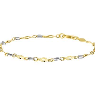 Bicolor wit- en geelgouden armband 2,5 mm 19 cm 42.07176