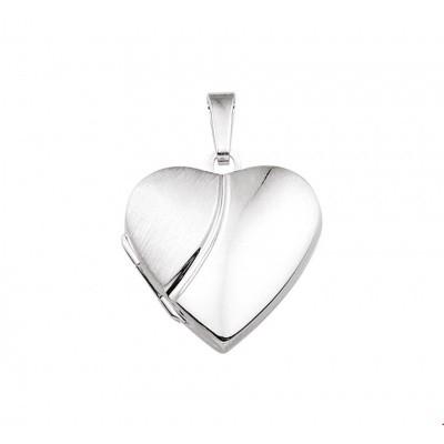 Zilveren medaillonhanger hart poli/mat 10.14522