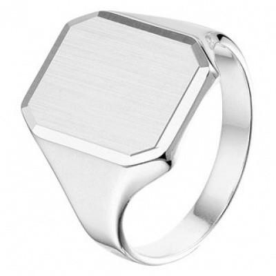 Zilveren heren graveerring poli/mat gediamanteerd 1014638