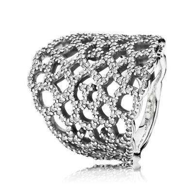 Pandora 190907CZ zilveren opengewerkte ring met zirkonia