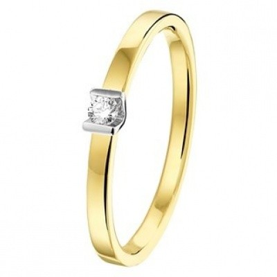 Bicolor ring met diamant 0.05ct H SI 42.07989