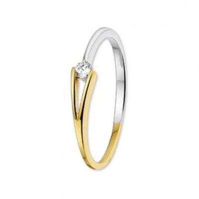 Foto van Bicolor gouden ring met zirkonia 42.06118
