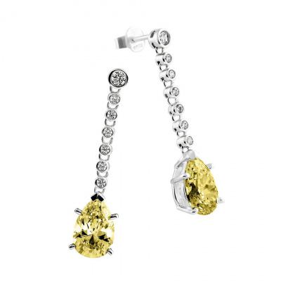 Foto van Diamonfire zilveren oorhangers met druppelvormige gele steen 808.0260.00