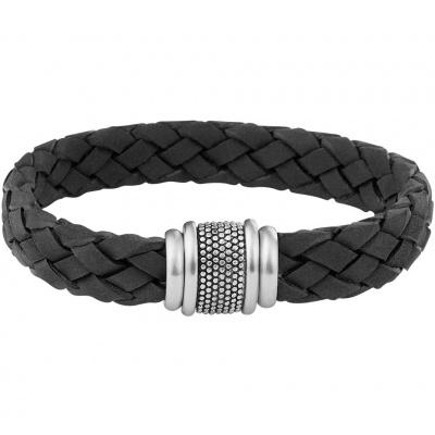 Foto van Armband zwart leer 12 mm 21 cm