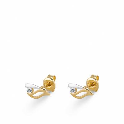 Foto van Bicolor gouden oorknoppen met zirkonia EDE01-3372