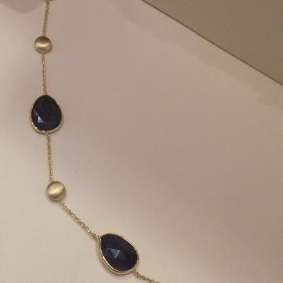 Italo Bottene gouden all satin - all blue quartzarmband 17 + 2 cm BR4174-14