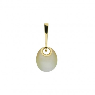 ZILVEREN GOLD-PLATED HANGER - GELE CAT'S EYE - SYNTHETISCHE CAT'S EYE