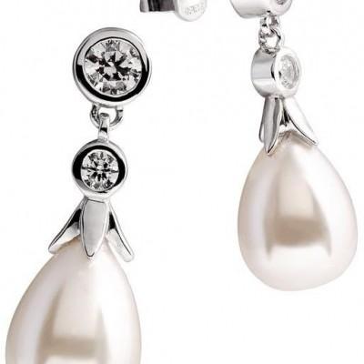 Zilveren oorhangers diamonfire Pearls - zirkonia - parel - druppel - 808.0227.00