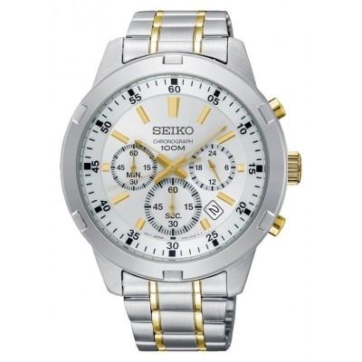 Foto van Seiko SKS607P1 horloge Chronograaf Wit met goudkleurige accenten