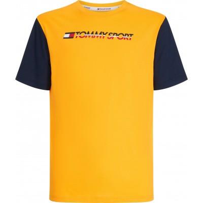 Foto van Tommy Sport Colourblock Logo Tee Geel