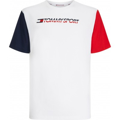 Foto van Tommy Sport Colourblock Logo Tee Wit