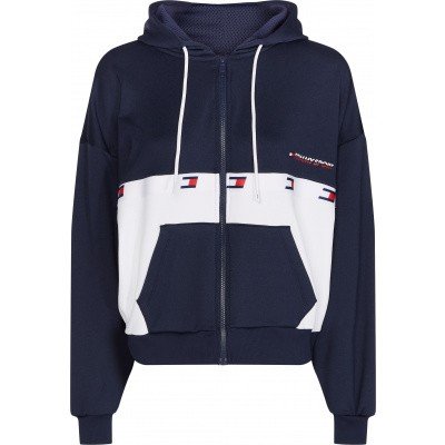 Tommy Sport Flag Tape FZ Hoody Dames Navy