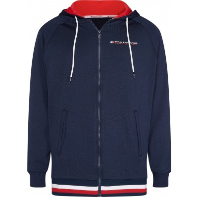 Foto van Tommy Sport Knit FZ Hoody Tape Heren Navy