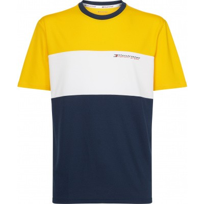Tommy Sport Colourblock Logo Tee Geel