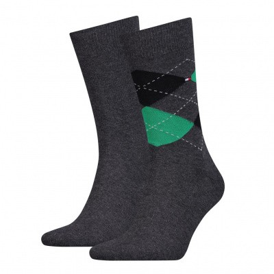 Foto van Tommy Hilfiger TH MEN SOCK CHECK 2P BLACK/GREEN/GREY 391156
