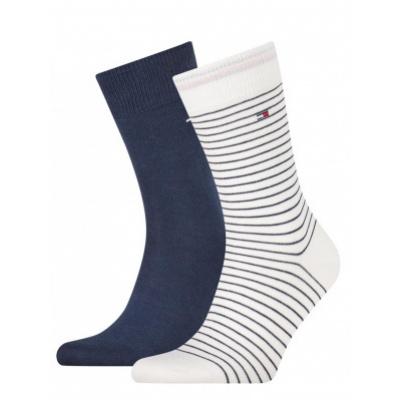 Foto van Tommy Hilfiger 2 pack heren sokken 100001496 101 Small Stripe WHITE COMBO