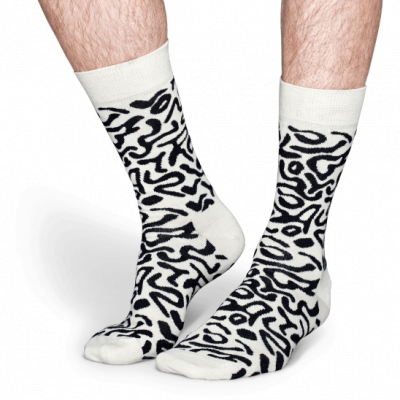 Foto van Happy socks artsy sock ATS01-1000 zwart/wit