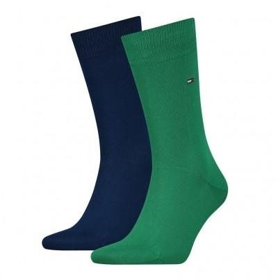 Foto van Tommy Hilfiger 2 pack heren sokken 371111 014 green/white