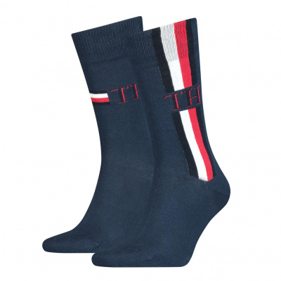 Foto van Tommy Hilfiger 2 pack heren sokken 100001492 002 Iconic Stripe NAVY