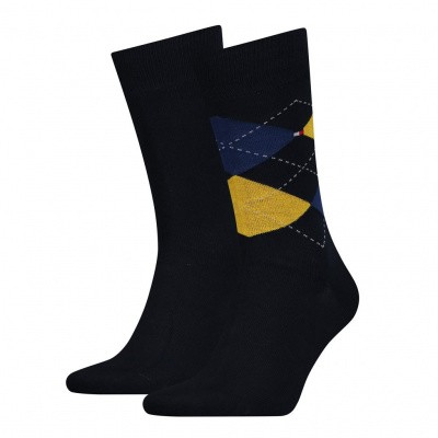 Foto van Tommy Hilfiger TH MEN SOCK CHECK 2P YELLOW/BLUE