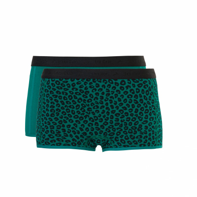 Foto van Ten Cate girls shorts 2-pack 31595 emerald/leopard emerald