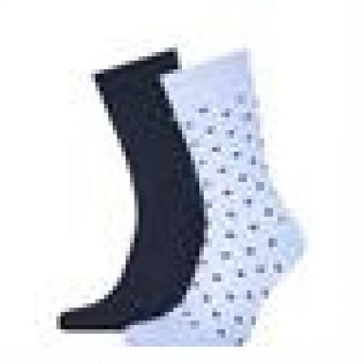 Foto van Tommy Hilfiger 2 pack heren sokken 100002654 002 Dot LIGHT BLUE