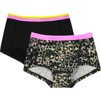 Foto van Vingino girls 2 pack hipster SS20KGN72606 JUNGLERULES multicolor army green