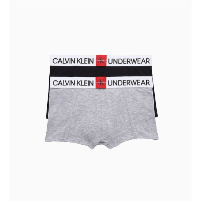 Foto van Calvin Klein boys 2PK trunk boxer B70B700241 0IM grey heather/black