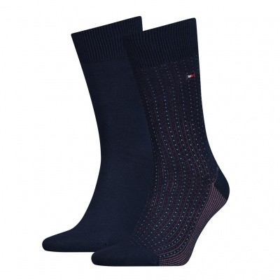 Foto van Tommy Hilfiger TH MEN SOCK 2P BIRDEYE JACQUARD NAVY