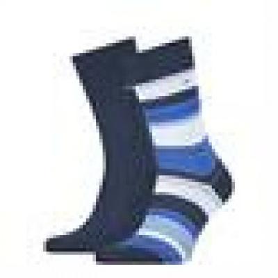 Foto van Tommy Hilfiger 2 pack heren sokken 100002652 004 Color Stripe NAVY