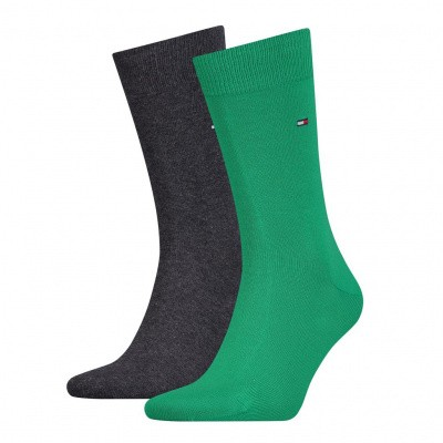 Foto van Tommy Hilfiger 2 pack heren sokken 371111 BLACK/GREEN/GREY