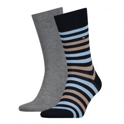 Foto van Tommy Hilfiger 2 pack heren sokken 472001001 832 blue combi